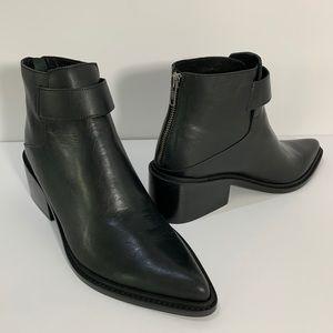 Womens 40 Helmut Lang block heel boots booties zip
